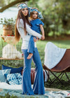 Stardust Dreamer Mommy & Me Set in Stretch Printed Denim (Women's Bell-Bottom & Child's Jumpsuit)