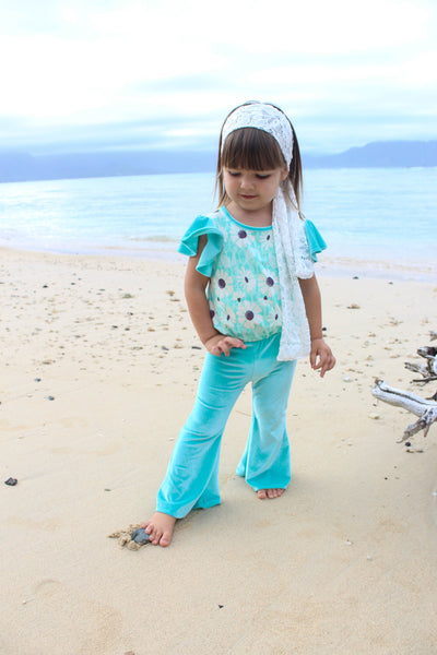 Wildflower Bell-Bottom Jumpsuit  (Tiffany Blue Velvet)