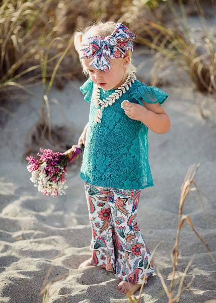 Teal Vintage Lace Flutter Sleeve Top