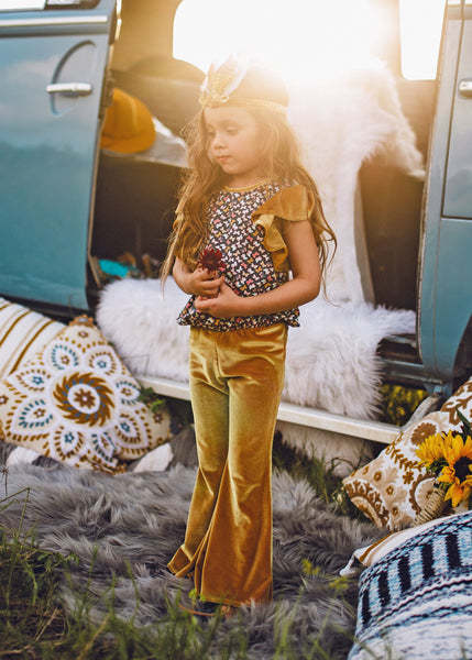 Wanderlust Bell-Bottom Jumpsuit  (Golden Velvet)