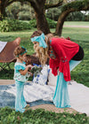 Wildflower Mommy & Me Set in Tiffany Blue Velvet (Women's Bell-Bottom & Child's Jumpsuit)