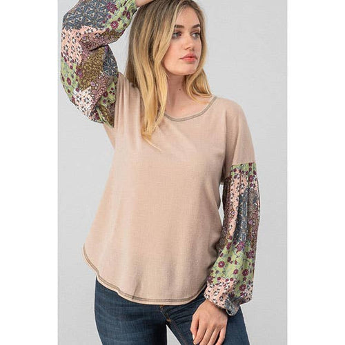 BOHO FLORAL BISHOP SLEEVE TOP
