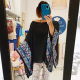 Boho Embroidered Poncho with sleeves (Black)