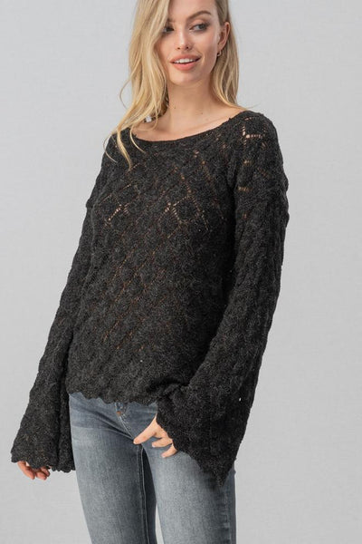 Diamond Open Knit Bell Sleeve Sweater (Black)