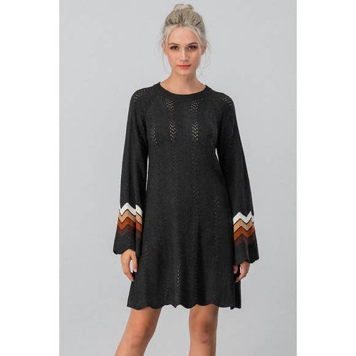 Boho Open Knit Sweater Dress in Black