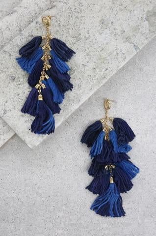 Denim Blue Layered Tassel Earrings