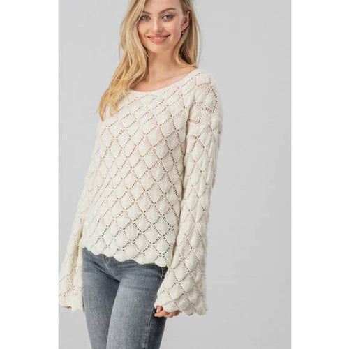 Diamond Open Knit Bell Sleeve Sweater (Cream)