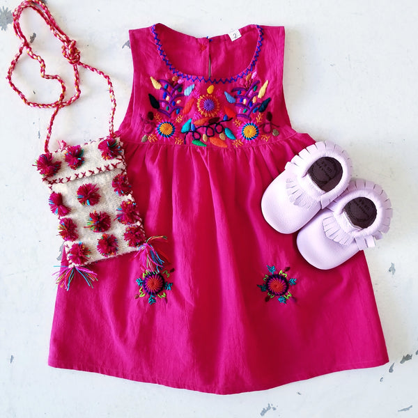 Fuchsia Hand Emroidered Dress