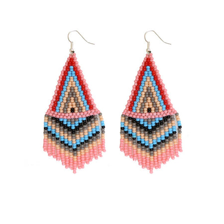 Red & Gold  Beaded Earrings