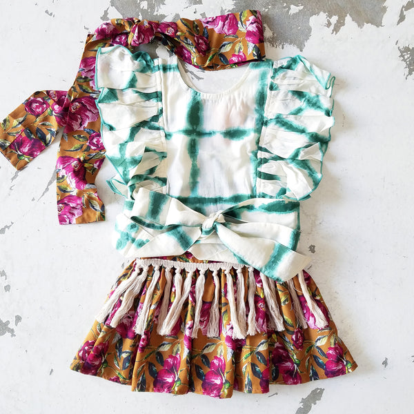 Ruffled Boho Top (Jade)