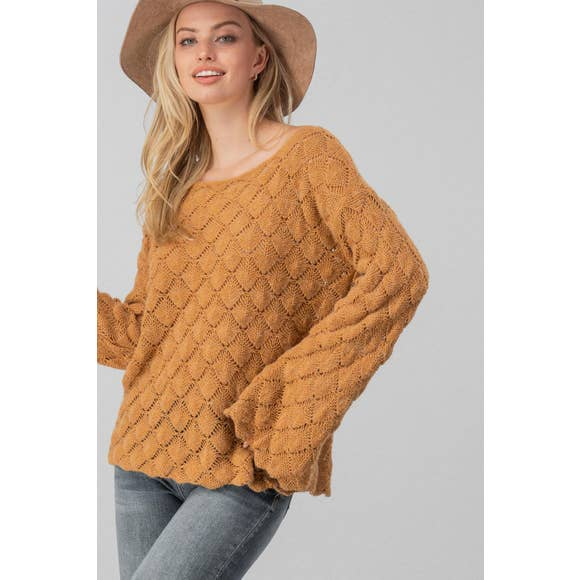 Diamond Open Knit Bell Sleeve Sweater (Mustard)