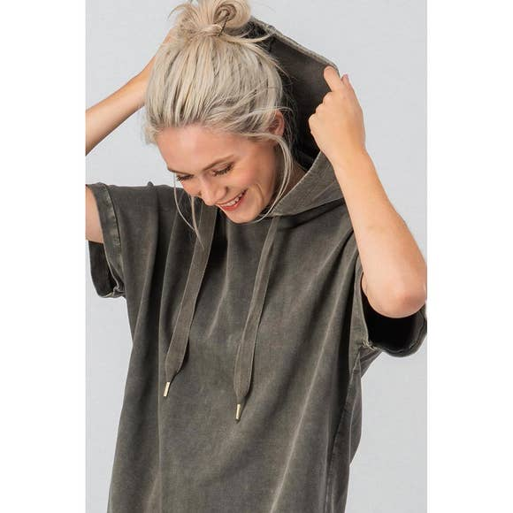 Olive Mineral Wash Soft Hoodie