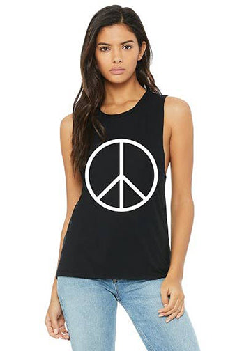 Peace Muscle Tank (Black/White)