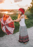 Free Spirit Maxi Skirt (Black/Red)