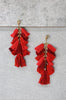 Cherry Red Layered Tassel Earrings