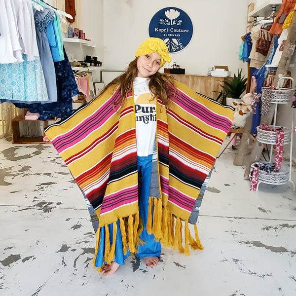 Serape Throw Over for Women & Children (Golden Striped)
