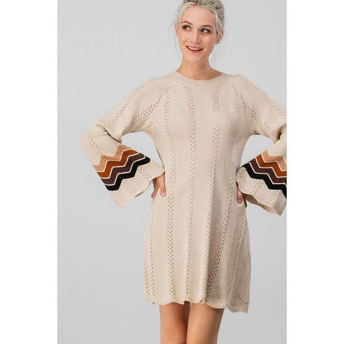 Boho Open Knit Sweater Dress in Cream