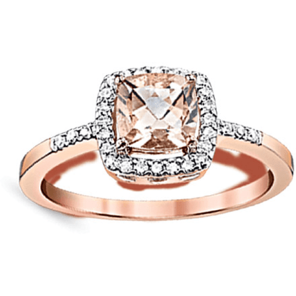 10k Rose Gold Diamond Morganite Ring Fashion Ring BW James Jewelers