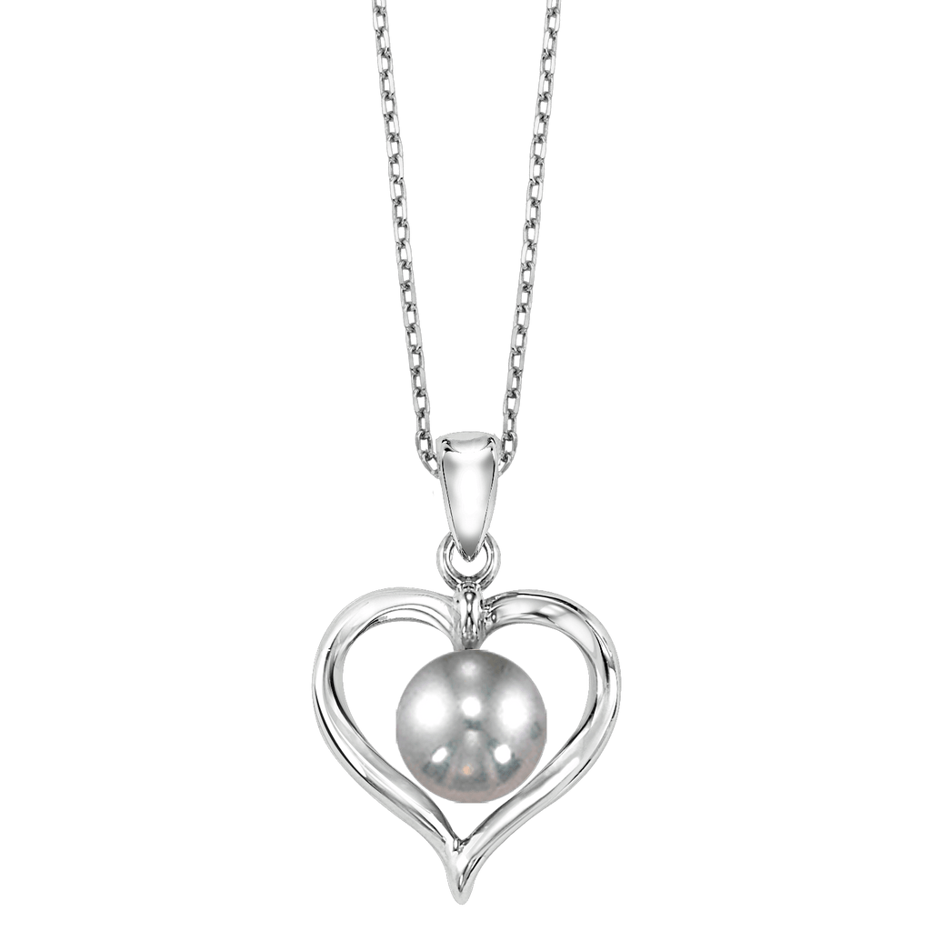 SS Yangtze Grey Pearl Heart Fashion Pendant Pendant BW James Jewelers