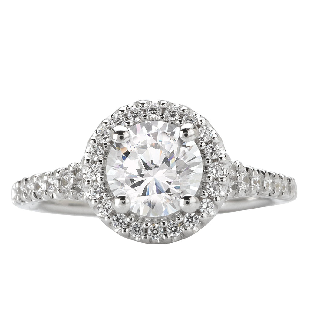Halo Semi-Mount Diamond Ring Engagement Rings BW JAMES