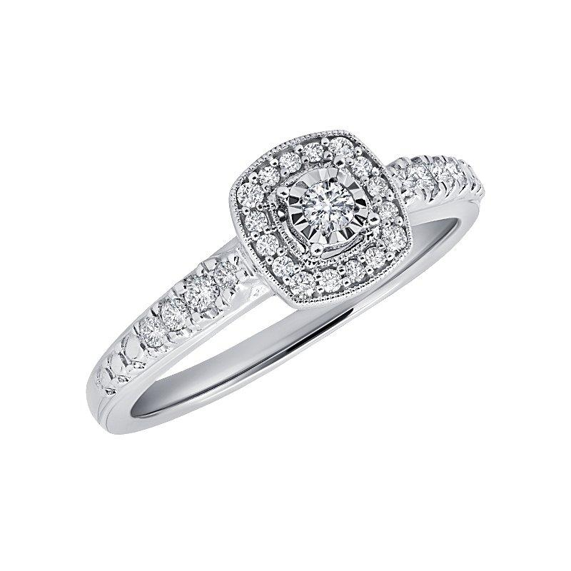 Promise Collection Princess Halo White Gold Diamond Ring Engagement Ring BW James Jewelers