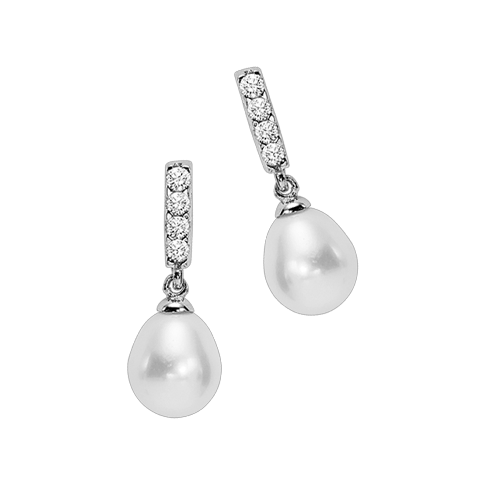 SS Yangtze CZ Pearl Fashion Earring Earrings BW James Jewelers