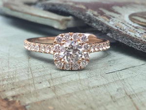 Love Story Promise  Halo Diamond Engagement Ring