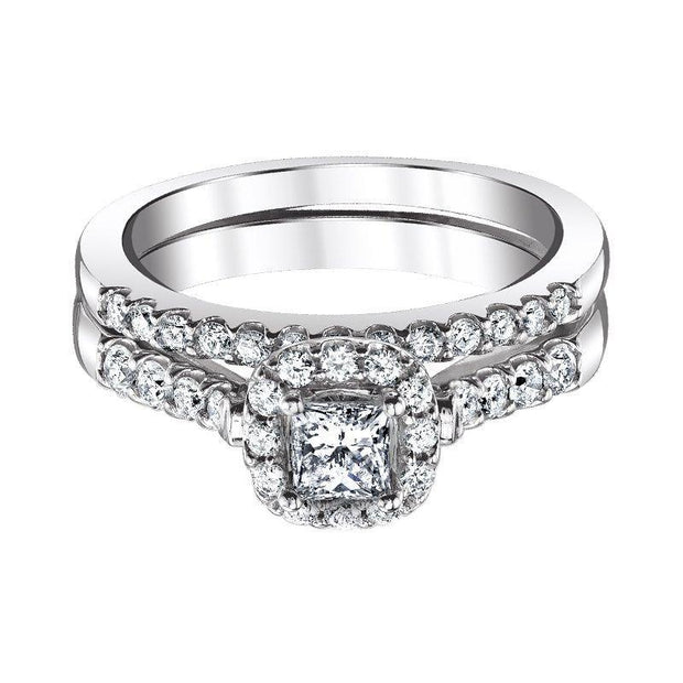 Love Story Princess Halo Diamond Bridal Set Engagement Ring Love Story