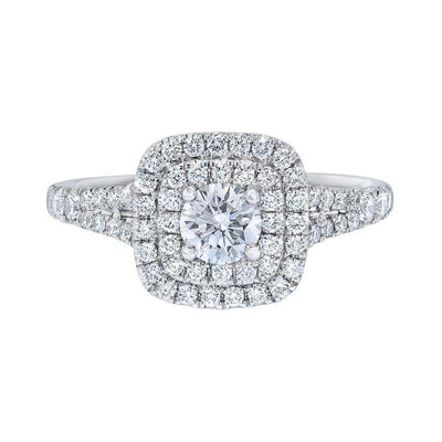 Love Story Double Halo Diamond Engagement Ring