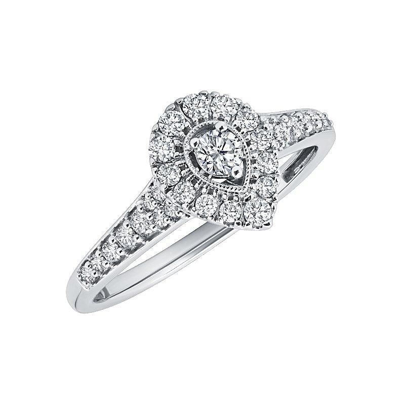 Promise Collection Pear Halo White Gold Diamond Ring Engagement Ring BW James Jewelers