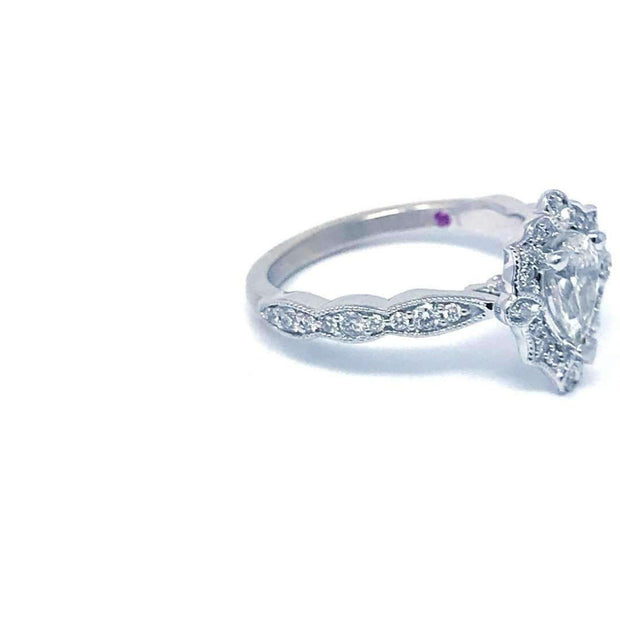Love Story Pear Vintage Halo Diamond Engagement Ring Engagement Ring Love Story
