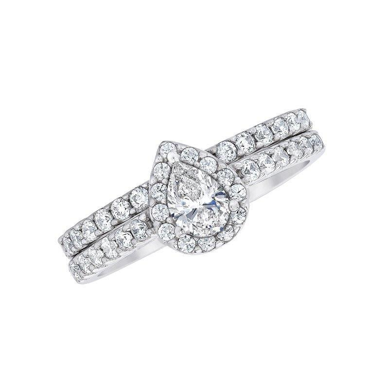 Love Story Pear Halo Diamond Ring Bridal Set Engagement Ring Love Story