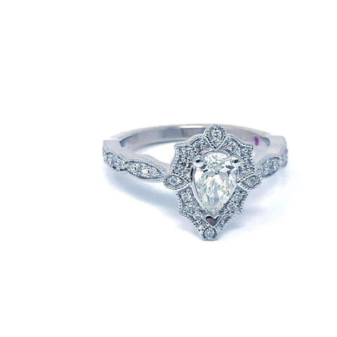 Love Story Pear Vintage Halo Diamond Engagement Ring