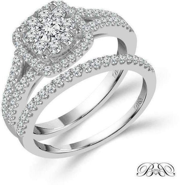 Beautiful Bride Collection Halo Diamond Ring Set 1ctw Engagement Ring Beautiful Bride