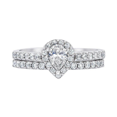 Love Story Pear Halo Diamond Ring Bridal Set