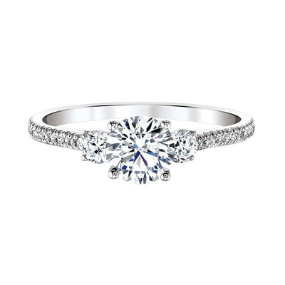 Love Story  Classic Three Stone Plus  Diamond Engagement Ring