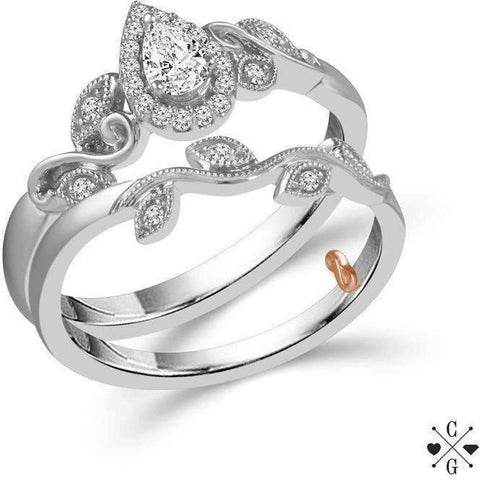 Image of Beautiful Bride Collection Pear Vintage Diamond Ring Set