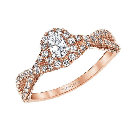 "Image of Love Story ""Lexi"" Rose Gold Oval Halo Engagement Ring"