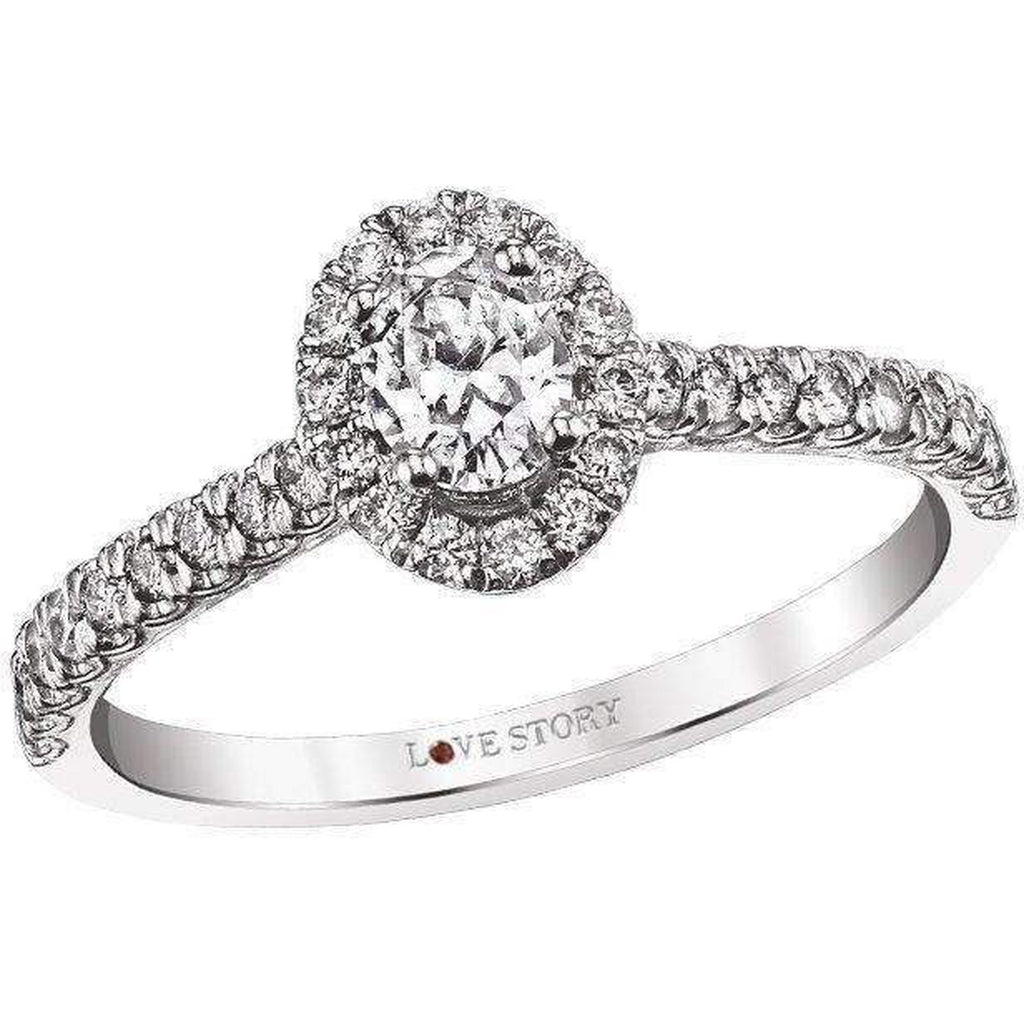Love Story Oval Halo Engagement Ring 1.15CTW Engagement Ring Love Story