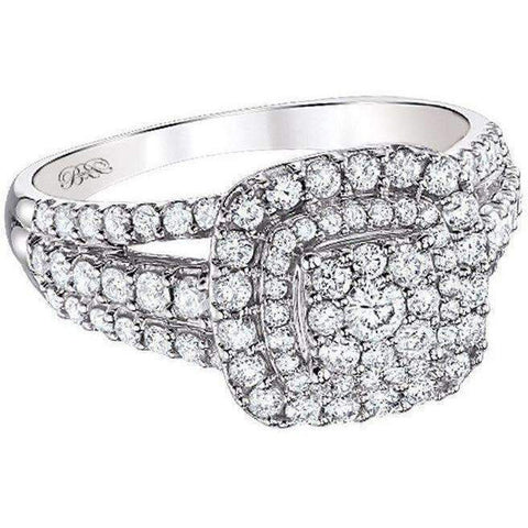 Image of Beautiful Bride Collection Halo Diamond Ring 14k 2ctw