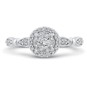 LUMINOUS Vintage Halo Diamond Ring Engagement Ring BW James Jewelers