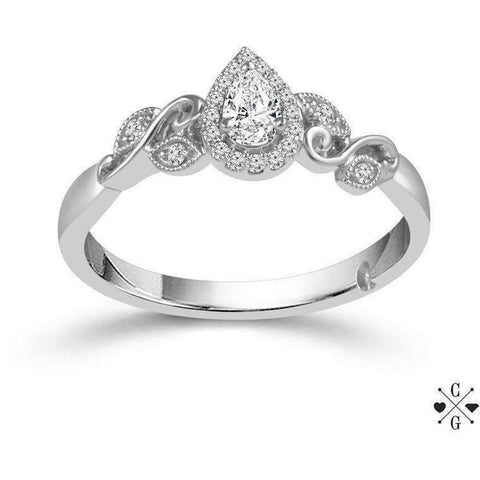 Image of Beautiful Bride Collection Pear Vintage Diamond Ring Set .35ctw