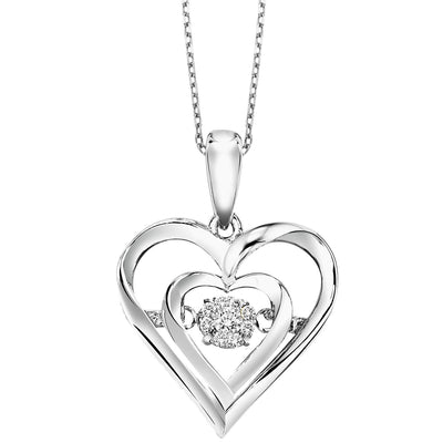 Sterling Silver Heart Shape Diamond Pendant Necklace BW James Jewelers