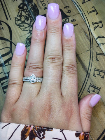 Image of 14k Love Story Pear Halo Diamond Ring Bridal Set 1ctw