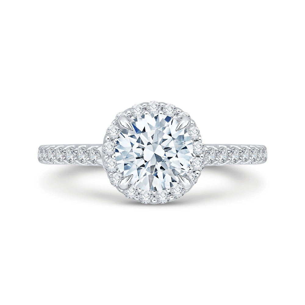 14K White Gold Round Cut Diamond Halo Engagement Ring with Euro Shank (Semi Mount) Engagement Ring CARIZZA