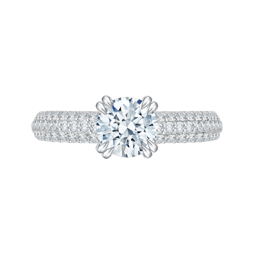 Round Diamond Euro Shank Cathedral Style Engagement Ring In 14K White Gold (Semi Mount) Engagement Ring CARIZZA