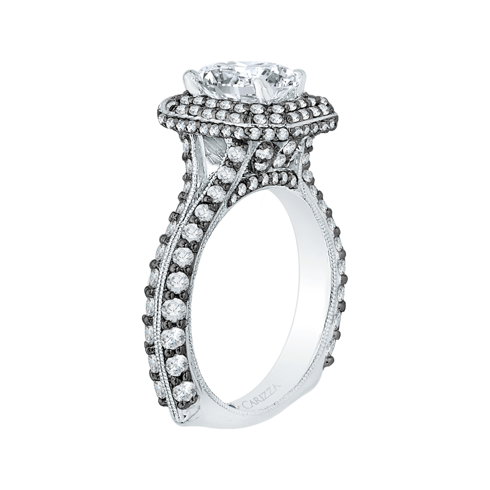 14K White Gold with Black Rhodium Tips Round Diamond Double Halo Engagement Ring (Semi Mount) Engagement Ring CARIZZA