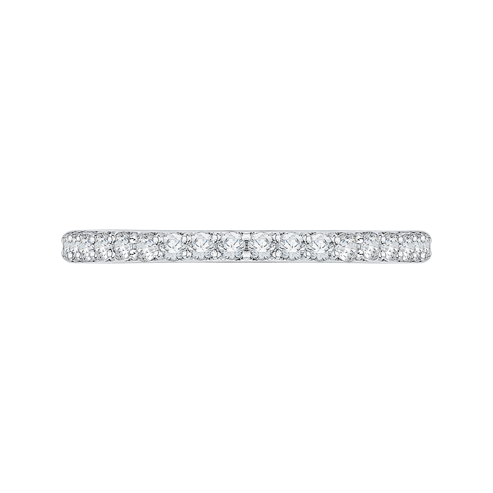 Round Diamond Half Eternity Wedding Band with Euro Shank In 14K White Gold Wedding Band CARIZZA