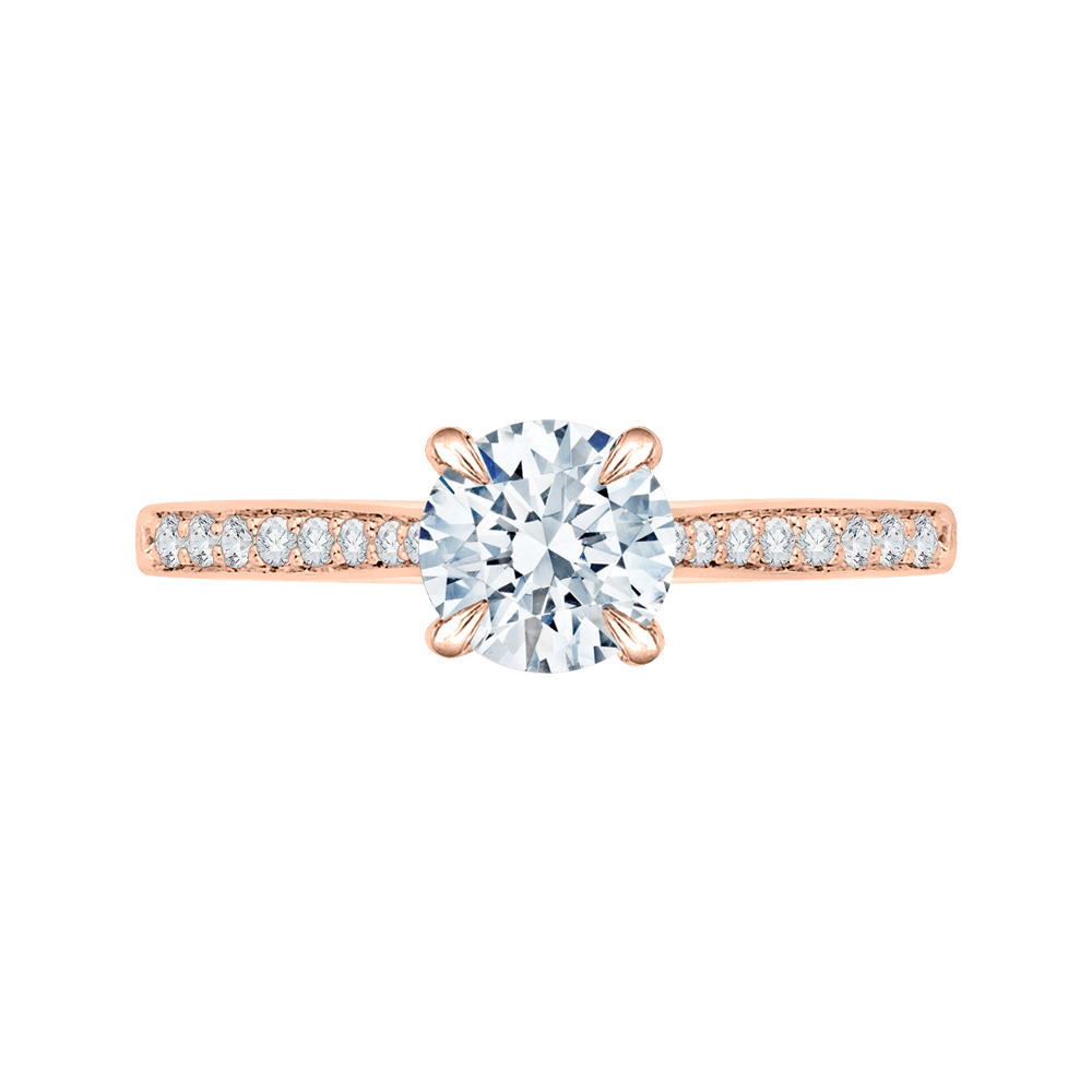 14K Rose Gold And Diamond Solitaire Semi-Mount