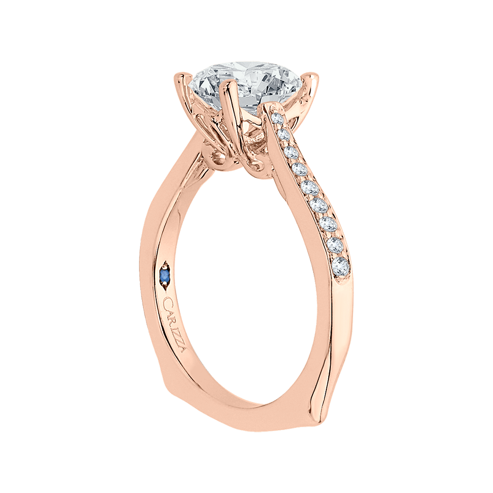 14K Rose Gold Round Cut Diamond Solitaire with Accents Engagement Ring (Semi Mount) Engagement Ring CARIZZA